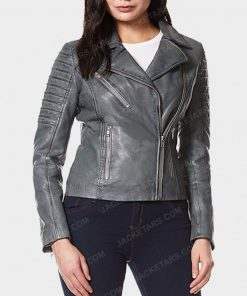 Womens Motorcycle Grey Leather Jacket