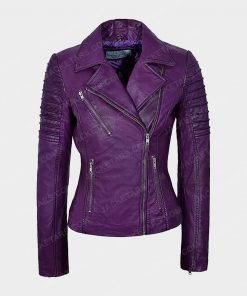 Womens Motorcycle Purple Leather Jacket