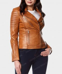 Womens Motorcycle Tan Leather Jacket