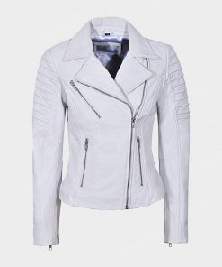 Womens Motorcycle White Leather Jacket