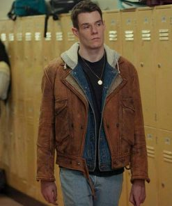Adam Groff Sex Education Brown Leather Jacket