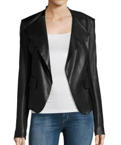 Arrow Dinah Drake Black Leather Drape Jacket