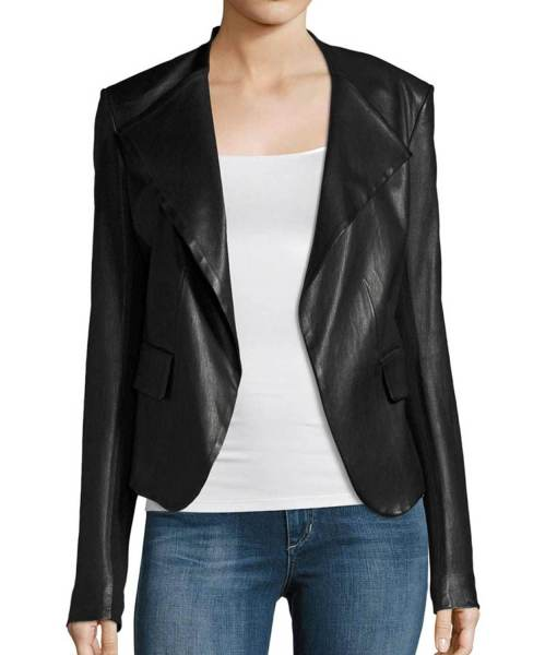 Arrow Dinah Drake Black Leather Drape Jacket