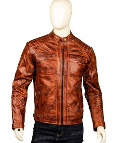 Brown Shoulder Design Leather Jacket