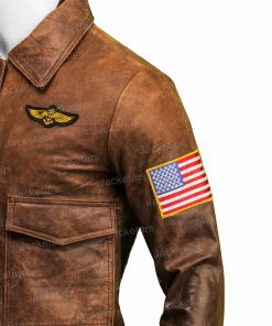 Captain Marvel Brown Leather Jacket