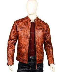 Men Brown Shoulder Design Leather Jacket