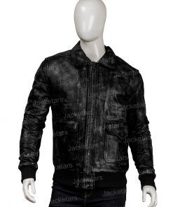 Men Distressed Black Leather Jacket