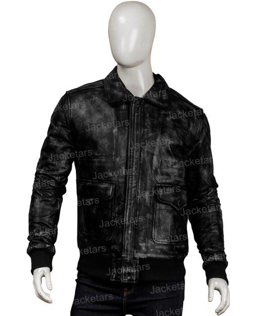 Men Distressed Black Leather Jacket