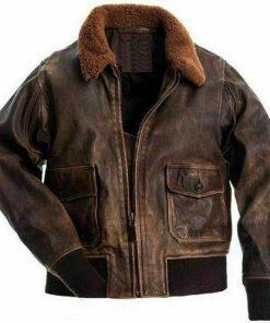 Men Distressed Flight Leather Jacket