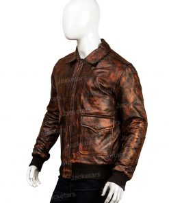 Men Distressed Leather Jacket