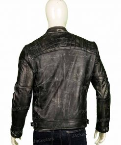 Men Distressed Shoulder Design Black Leather Jacket