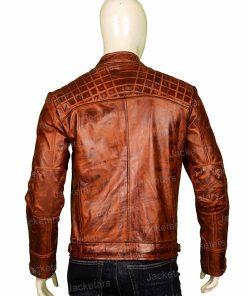 Men Shoulder Design Leather Jacket