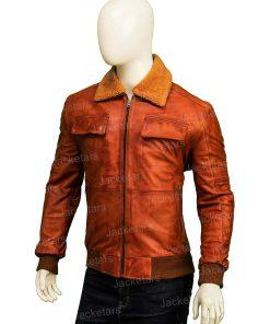 Mens Camel Brown Fur Jacket