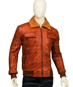 Mens Camel Brown Fur Leather Jacket