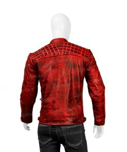 Mens Distressed Red Shoulder Design Leather Jacket.jpg