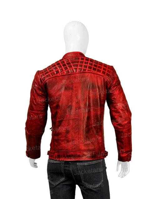Mens Distressed Red Shoulder Design Leather Jacket.jpg