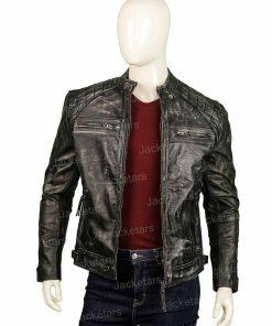 Mens Distressed Shoulder Design Black Leather Jacket