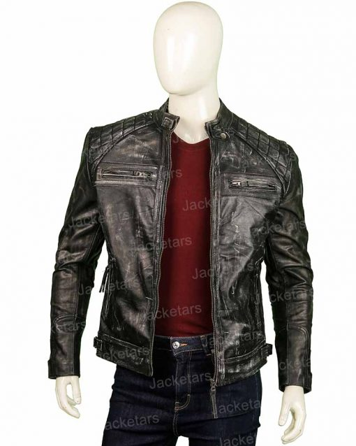 Mens Distressed Shoulder Design Black Leather Jacket