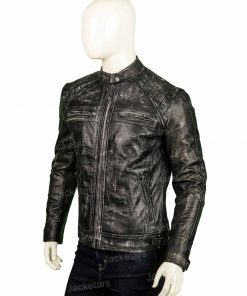 Mens Distressed Shoulder Design Leather Jacket