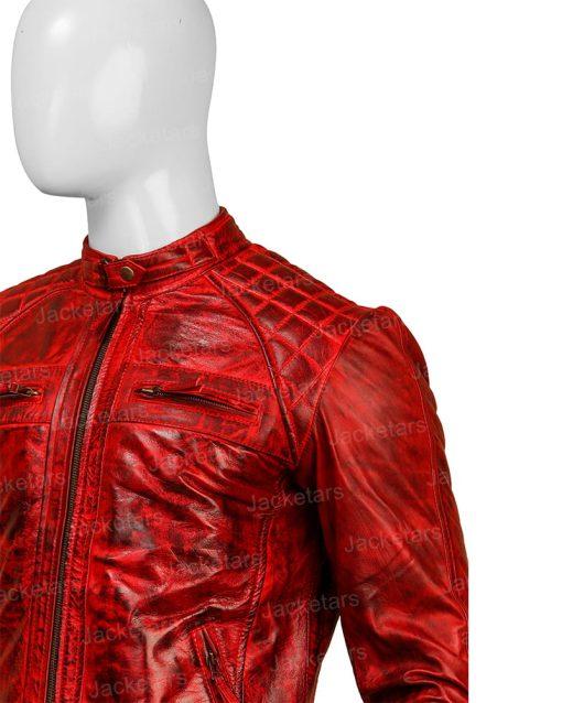 Mens Distressed Shoulder Design Leather Red Jacket.jpg