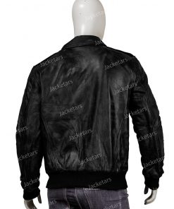 Mens Real Sheepskin Black Leather Bomber Jacket