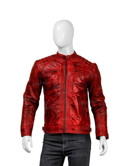 Mens Red Shoulder Design Leather Jacket.jpg