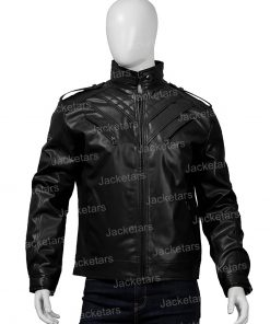 Mens Shoulder Design Black Leather Jacket