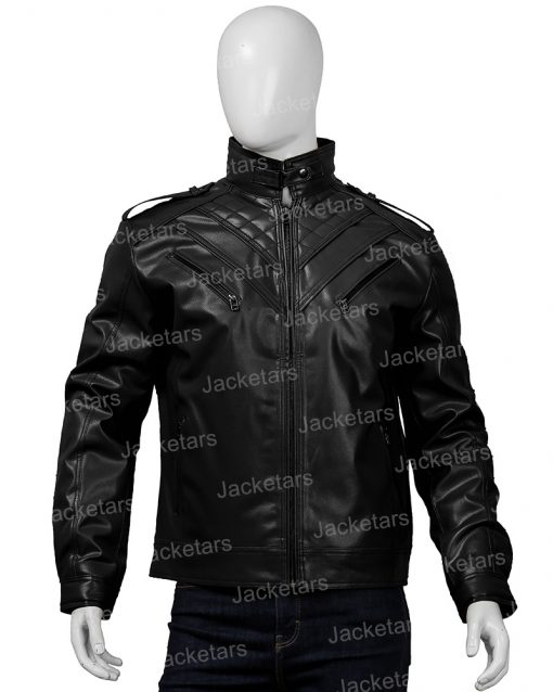 Mens Shoulder Design Black Leather Jacket