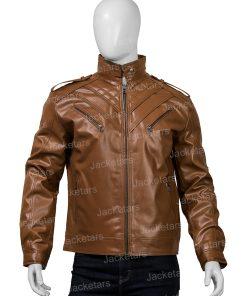 Mens Shoulder Design Brown Leather Jacket