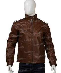 Mens Shoulder Design Dark Brown Leather Jacket