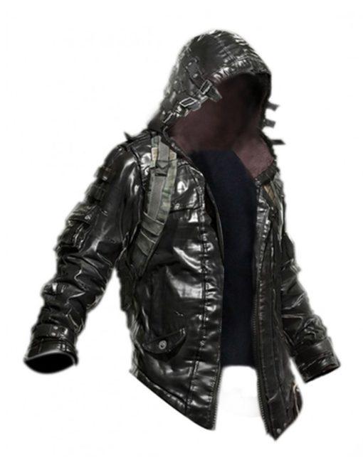Pubg Black Leather Hoodie Jacket