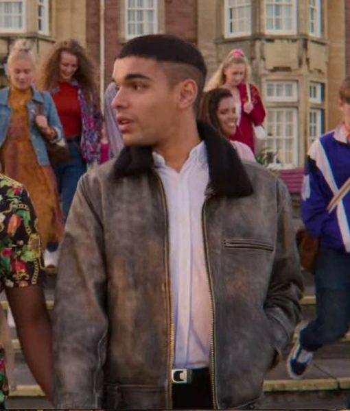 Sex Education Season 2 Rahim Blue Leather Jacket