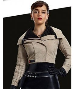 Solo A Star Wars Story Qira Grey Leather Jacket
