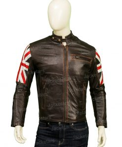 The United Kingdom Flag Cafe Racer Leather Jacket