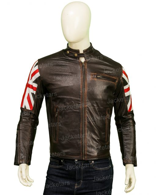 The United Kingdom Flag Cafe Racer Leather Jacket