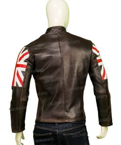 United Kingdom Flag Cafe Racer Brown Leather Jacket