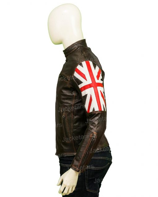 United Kingdom Flag Cafe Racer Leather Jacket