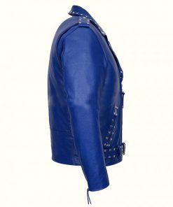 Blue Studded Biker Jacket