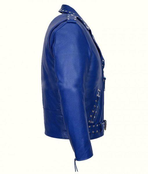 Blue Studded Biker Jacket