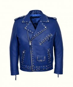 Blue Studded Biker Leather Jacket