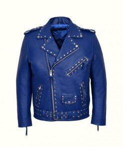 Blue Studded Biker Leather Jacket