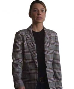 Lucifer Chloe Decker Grey Checked Coat