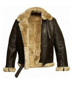 Mens FUR Aviator Flying Pilot Bomber Jacket