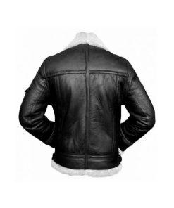 Mens RAF B3 Aviator Shearling Bomber Black Leather Jacket