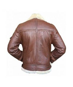 Mens RAF B3 Aviator Shearling Bomber Brown Leather Jacket