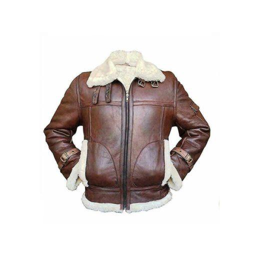 Mens RAF B3 Aviator Shearling Bomber Leather Jacket
