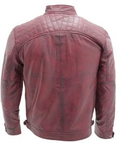 Mens Retro Racing Leather Jacket
