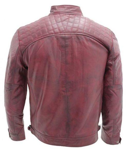Mens Retro Racing Leather Jacket