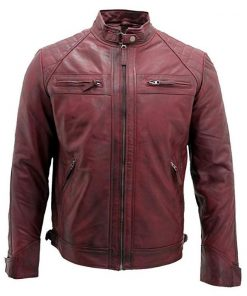 Mens Retro Racing Maroon Leather Jacket