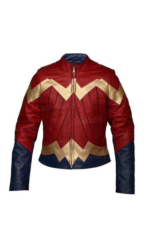 Wonder Woman Gal Gadot Diana Maroon Leather Jacket
